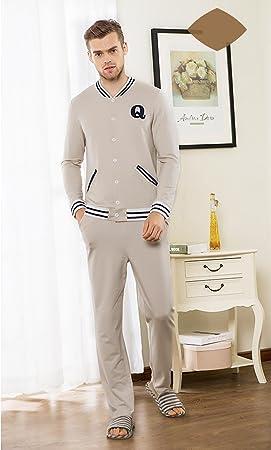 Manga larga algodón pijama bata otoño camisa de dormir últimos hombres que puede ser usado al