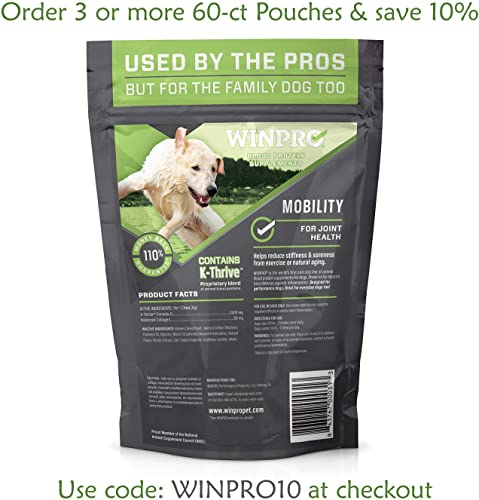 WINPRO All-Natural Mobility Joint Support Soft Chews for Dogs Blood Protein Supplement for Healthy Hips and Joints, Made in USA, Grain Free