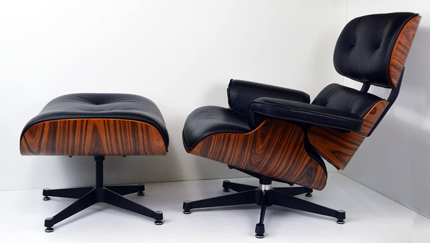 Charles Eames inspired Lounge Chair / Black Leather Light Rosewood With Ottoman by Charles Eames