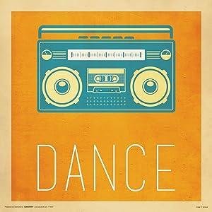 Culturenik Dance Retro Vintage Hipster Hip Hop 80s Cassette Player Decorative Lifestyle Inspirational Print (Unframed 12x12 Poster)
