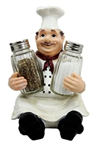 Ebros Italian Head Chef Mario Salt and Pepper Shakers Holder Figurine As Decorative Kitchen Dining Centerpiece Decor for Chefs Cooks Bistro Restaurant Themed Statue