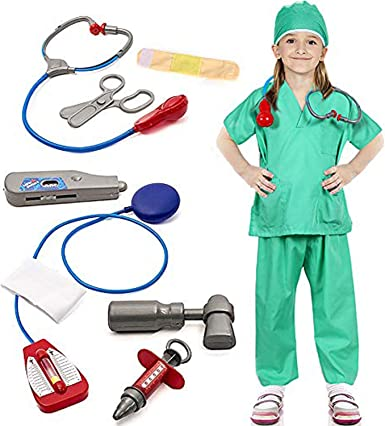 Child Doctor Costume Boys Girls Uniform Surgeon Fancy Dress Kids Scrubs Hospital