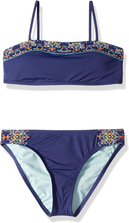 Hobie Girls Big Halter Bandeau Bikini Top and Side Tie Hipster Bottom Set