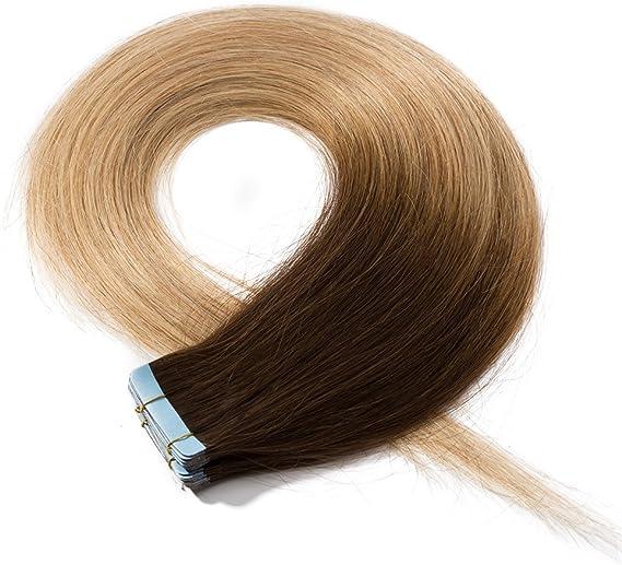 Elailite Extensiones Pelo Natural Adhesivas sin Clip Cabello Humano Liso 100% Remy con Tape 20 Mechas 50cm (50 g) #4T27 Castaño Medio Ombre Rubio ...