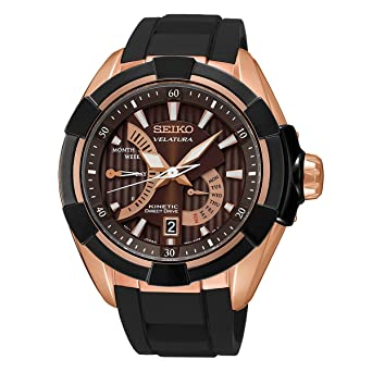 amazon com seiko velatura kinetic mens watch rose gold tone seiko velatura kinetic mens watch rose gold tone