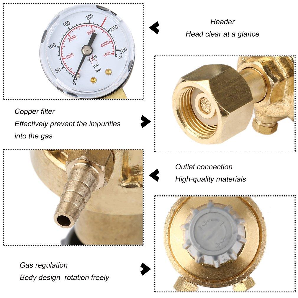 Mini r/égulateur de pression argon CO2/gaz de protection soudage gaz manom/ètre MIG MAG