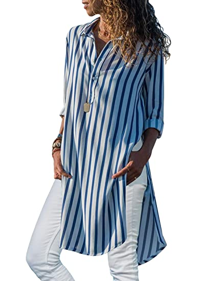 Miholl Women S V Neck Stripes Long Sleeve Shirts Button Down Blouses
