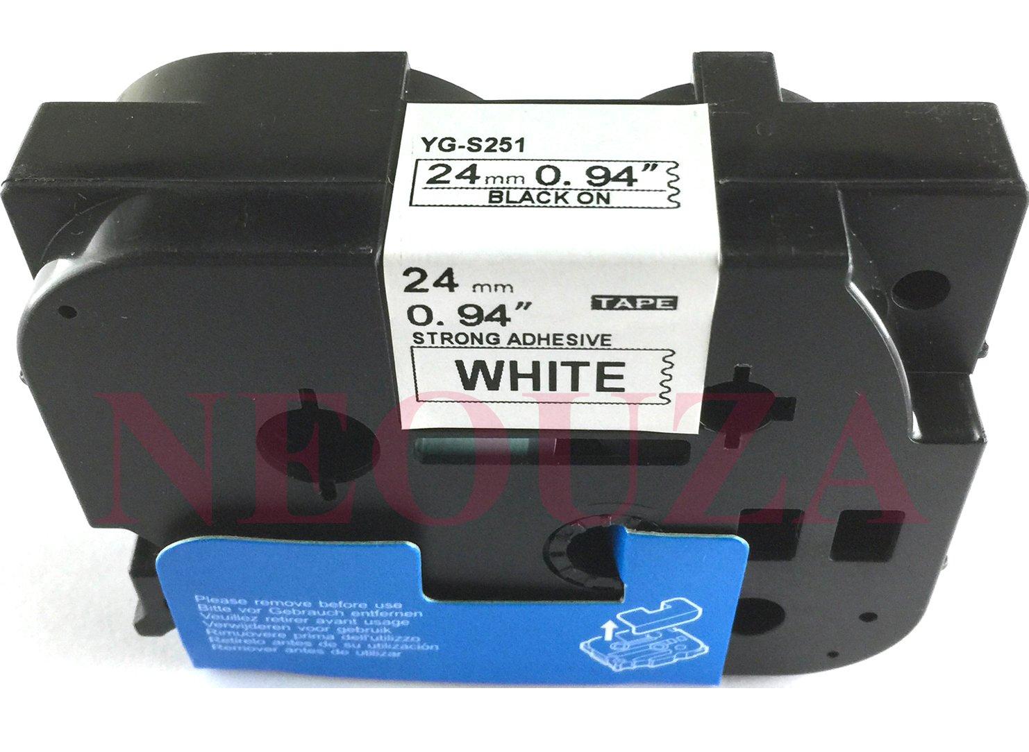 ACD extra forza adesiva compatibile per Brother P-Touch TZe TZ nero su bianco Label tape 6/mm 9/mm 12/mm 18/mm 24/mm 36/mm TZe-S241 18mm Black//White