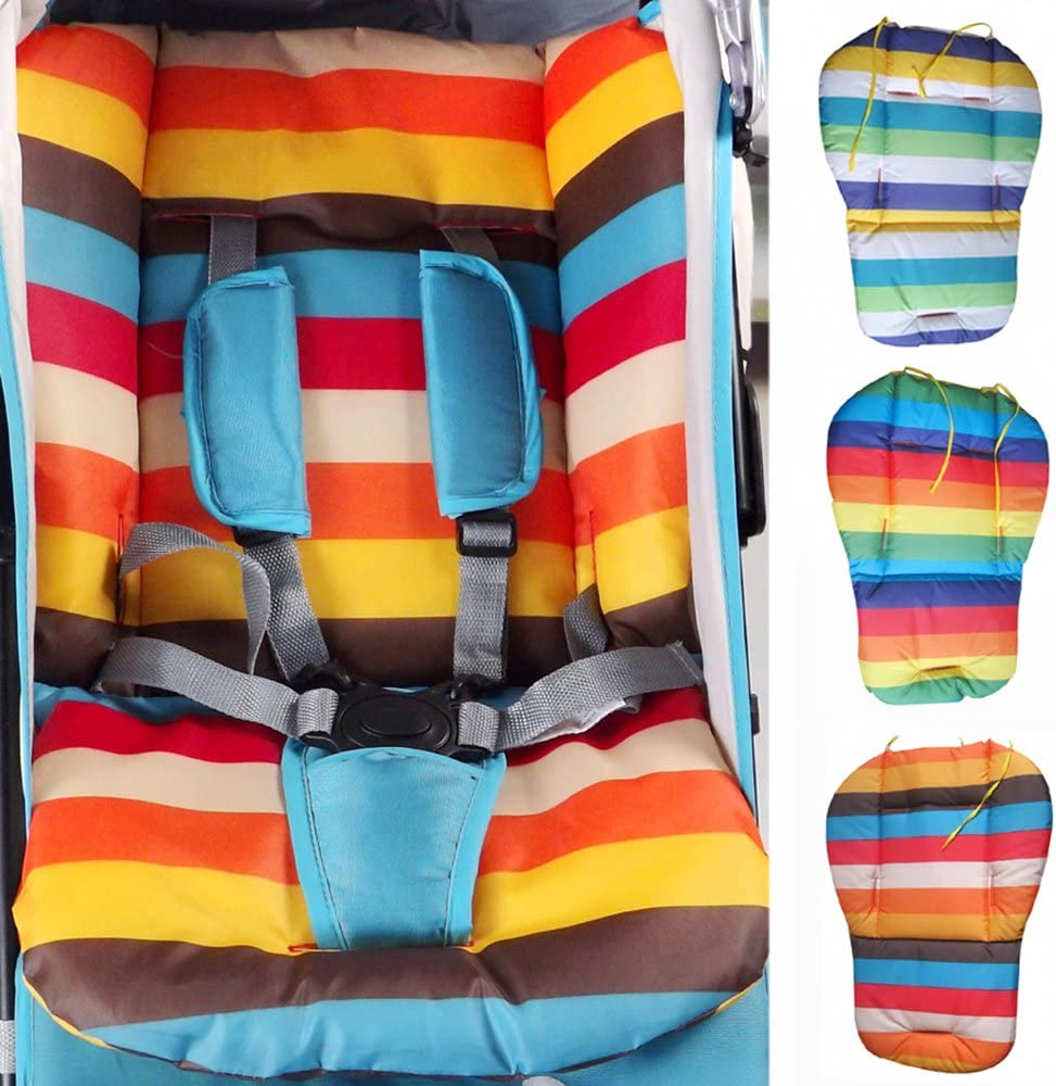 Brussels08 Waterproof Rainbow Baby Kids Car Seat Cotton Liner Padding Breathable Water Resistant Stroller Pushchairs Seat Cushion Pad Protector,Universal Fit Blue