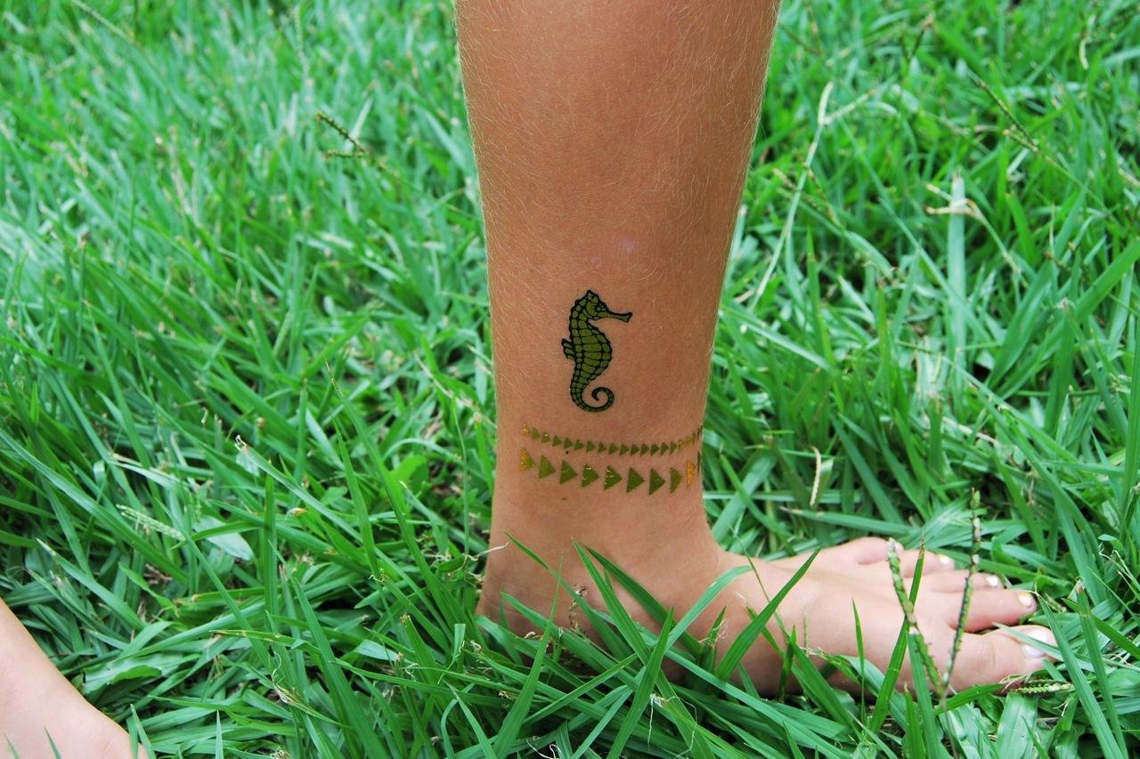Rayo Bolt tatuaje temporal metálico negro y dorado: Amazon.es: Belleza
