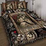 GEEMBI Quilt Bedding Set-to My Love. You and Me We Got This Skull Couple Quilt Bed Set THB2290QS1, Queen Size Coverlet for Al