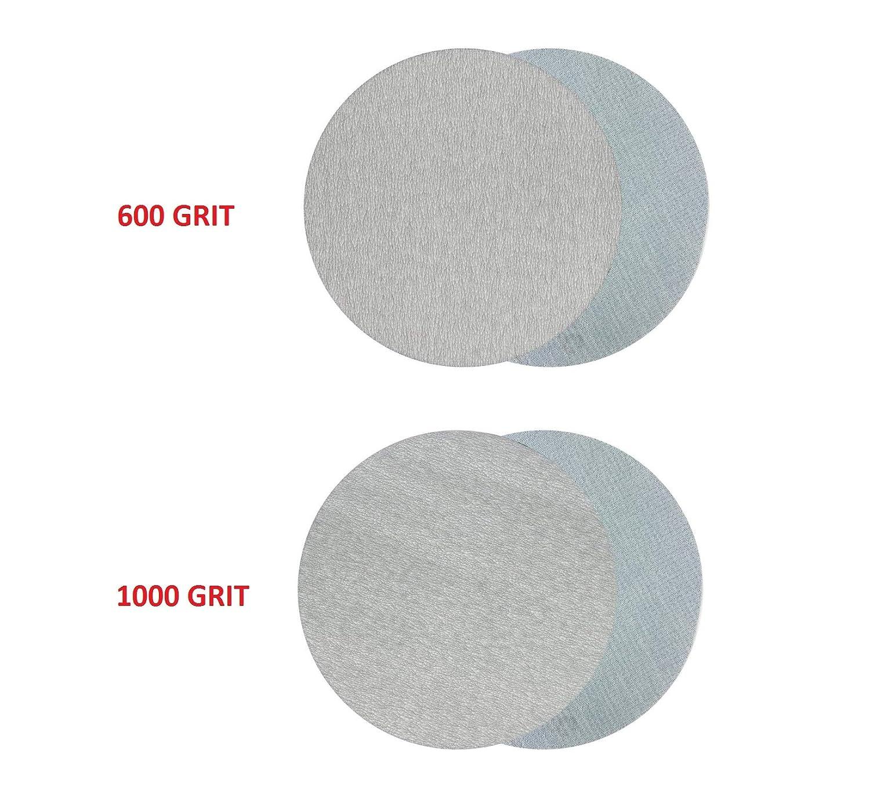30pcs 5 Inch 8-hole 60,240,600,1000,2000,3000 grit Hook /& Loop Sanding Discs set