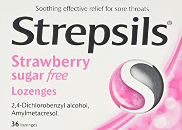 Strepsils Strawberry Sugar-Free Lozenges, 36 Lozenges