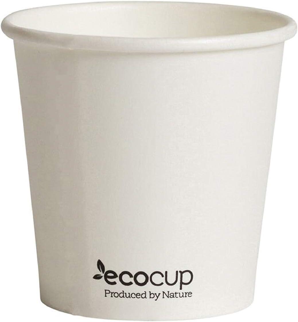 Vasos de Café Desechables, Biodegradables y Compostables- 50Uds 110ml/ 4oz -Materiales 100% Ecológicos: Cartón con Certificado FSC®, Revestimiento de Bioplástico PLA Ingeo™. Blanco