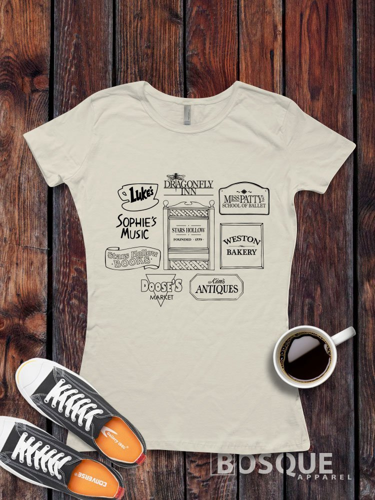 Gilmore Girls Stores Logos Luke's Diner Miss Patty's Stars Hollow inspired T-Shirt / Adult T-shirt Tee design Shirt - Ink Printed