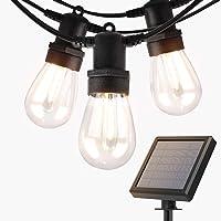 addlon 27FT Solar String Lights Outdoor, Commercial Grade LED Solar Café Patio Lights, Porch Market Light, Waterproof…