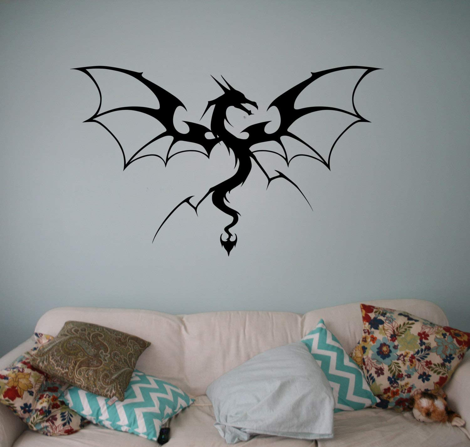 Wall Sticker-Medieval Dragon Vinyl Decal Monster Wall Sticker Gothic Wall Graphics Bedroom Wall Ar-bGDd376