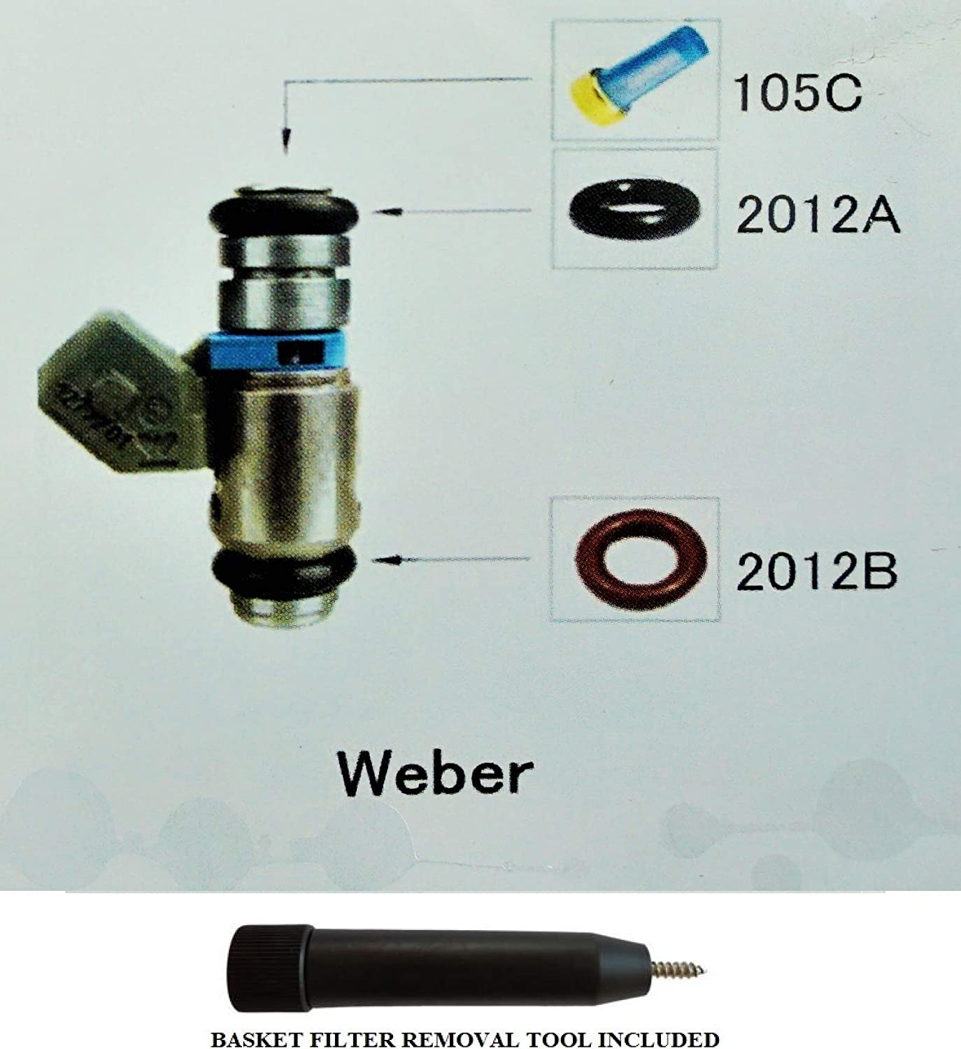 Fuel Injector Rebuild Kit for WEBER with Optional Filter Removal Tool Complete