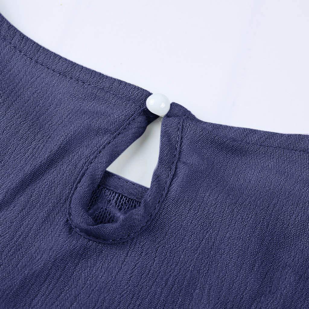 JIAJU-DJ Women Casual Short Sleeve Lace Patchwork Tops Blousea