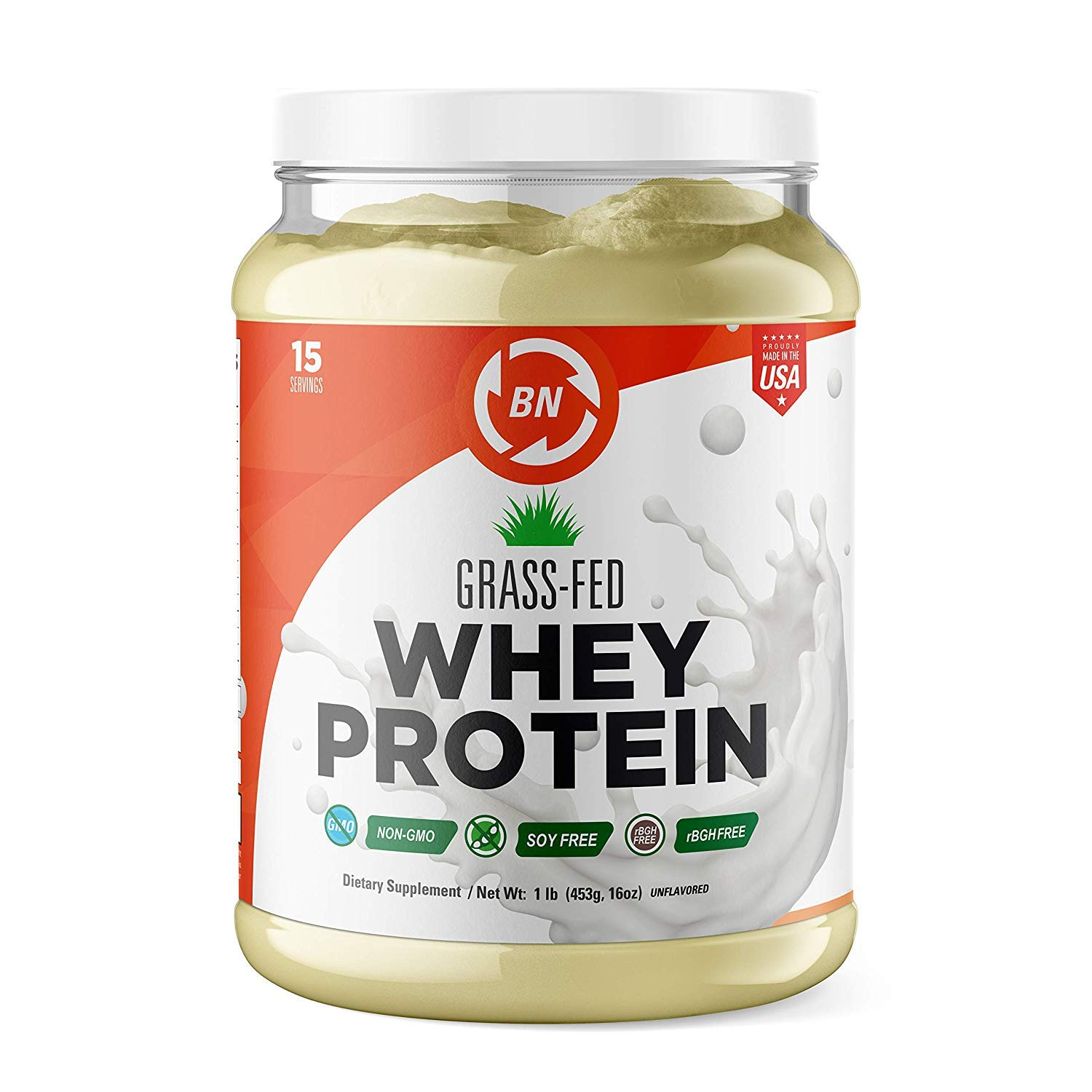Grass Fed Whey Protein - 100% Pure, Natural & Raw - 24g High Protein - 1 lb/15-5lb/75 Servings - Cold Processed Undenatured - Non-GMO - rBGH-Free - High Quality Wisconsin USA (1 lb) by BN Labs