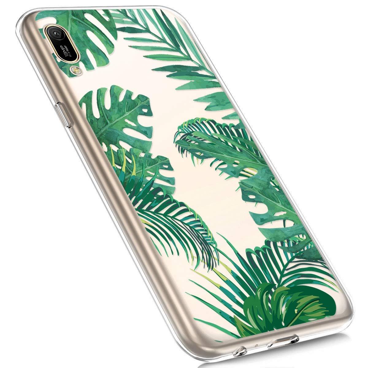 Felfy Kompatibel mit Huawei Y6 2019 H/ülle,Kompatibel mit Huawei Y6 2019 Handyh/ülle Transparent Silikon Schutzh/ülle Elegant Muster Ultrad/ünn Weich Gel Kristall Klar Silikonh/ülle Sto/ßfest Cover Case