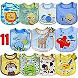 SLOSH 11 Baberos Impermeables Bebe Bandana Velcro para Recien Nacido Niño Niñas Unisex 11pcs