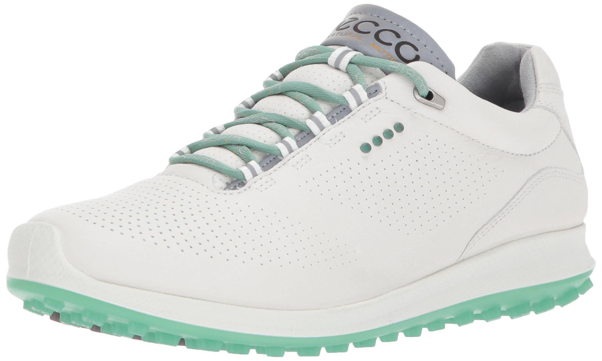 ECCO Women's Biom Hybrid 2 Perforated Golf Shoe, White/Granite Green Yak Leather, 9 M US by ECCO