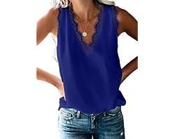 osazic Women Casual Loose Lace Sleeveless Chiffon V Neck T-Shirt Tunic Blouse Tank Tops S-2XL