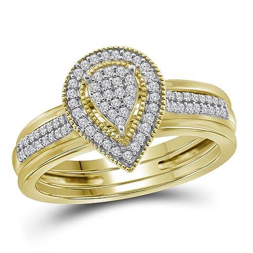 10 kt oro amarillo para mujer diamante lágrima Cluster novia boda anillo de compromiso conjunto de