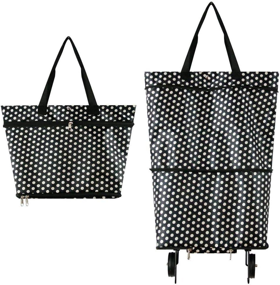 faltbare Einkaufstasche auf Rollen f/ür Frauen wiederverwendbarer Einkaufswagen strapazierf/ähig /& zusammenklappbar f/ür einfache Aufbewahrung #7747 Wei/ßer Punkt Faltbare Einkaufstasche mit Rollen