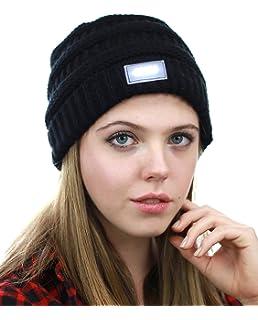 Amazon.com  HZM Unisex 5 LED Knitted Flashlight Beanie Hat cap with ... ac0a31f1de8