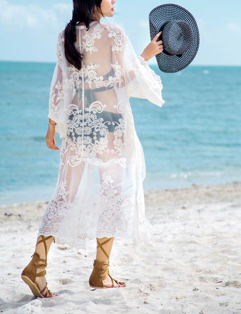 Women's Cover Ups for Swimwear Beach Kimono Lace Coverups (White, M) by Jeasona (Image #4)