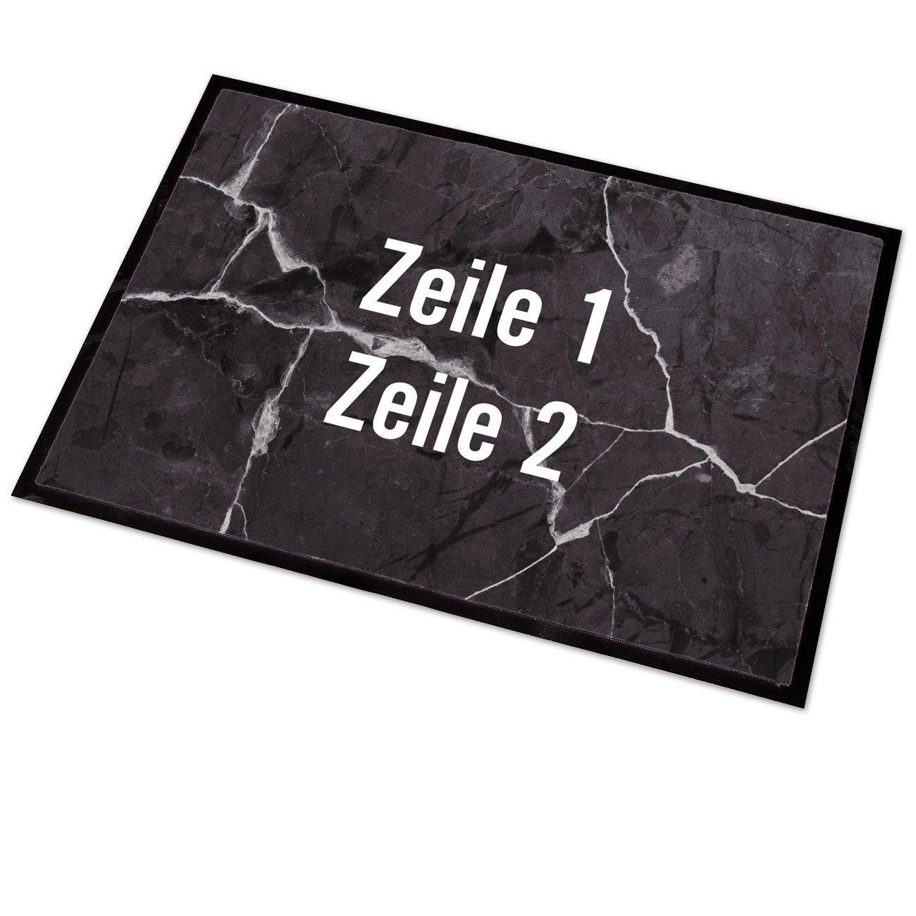 mit 2 Wunschzeilen Marmor Cera /& Toys/® Fu/ßmatte mit pers/önlichem Aufdruck 50x70 cm