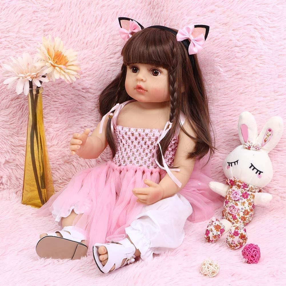 ROSHUAN Reborn Baby Dolls 22 inch Baby Reborn Doll Lifelike Long Brown Hair Reborn Toddler Baby Dolls with Pink Princess Dress Accessories for Girls Best Festival Gifts Set