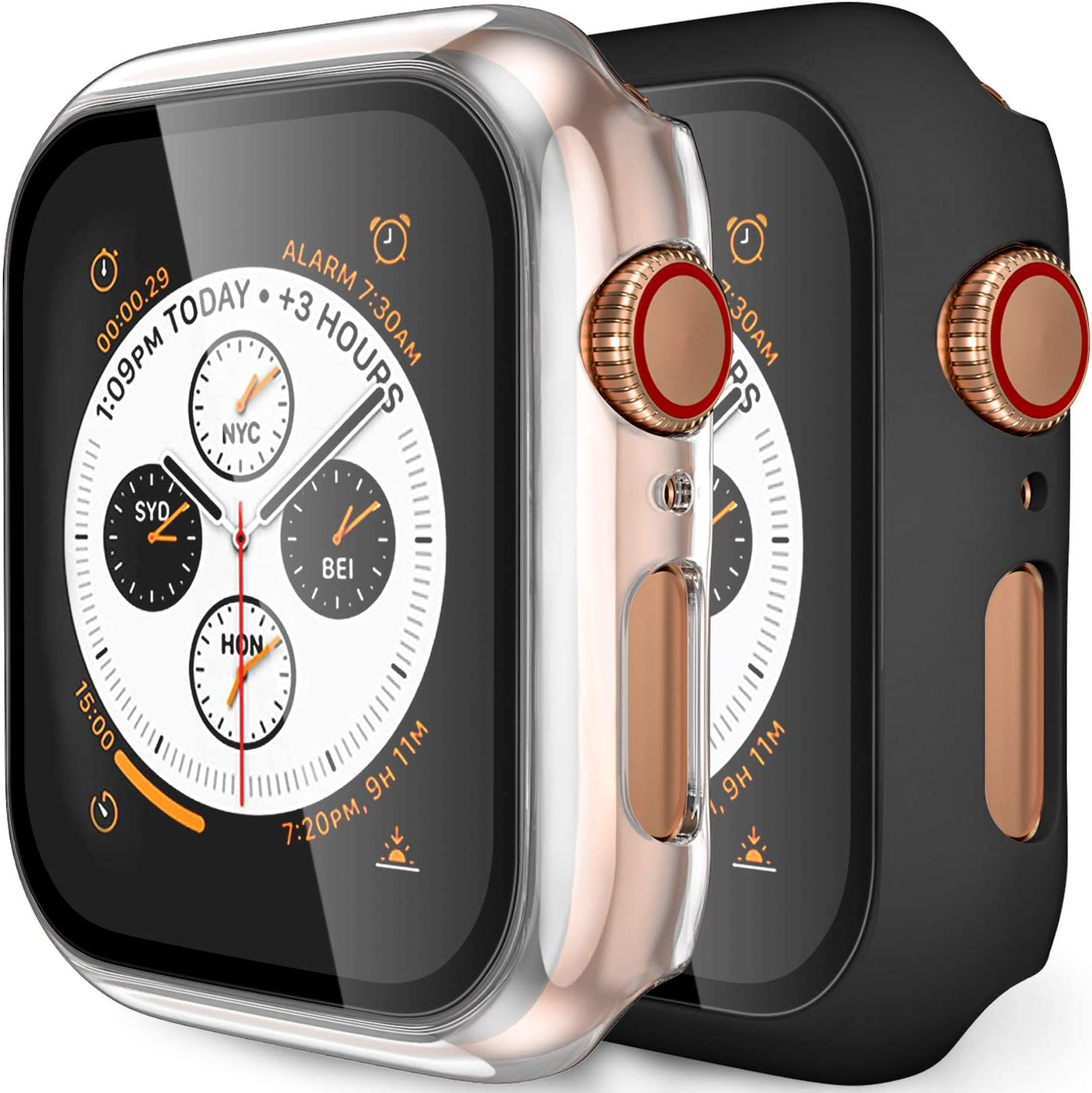 (2 Pack) GEAK Hard Case for Apple Watch 38mm Series 3 with Screen Protector, Full Body Protective Bumper Case Cover for iWatch Series 3/2/1, Matte Black/Clear