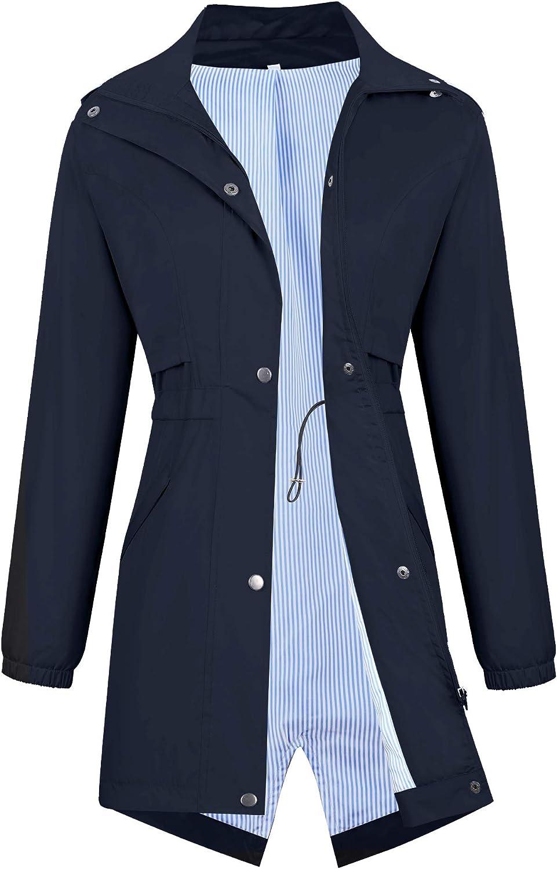 Avoogue Womens Raincoats Waterproof Cinch Waist Breathable All Weather Jacket Long