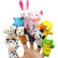 JZK 10 Marionetas Dedo Animales Dedos títeres Animal Juguetes pequeños Juguetes de Peluche para niños favores Partido Fiesta cumpleaños Rellenos Bolsas Regalo