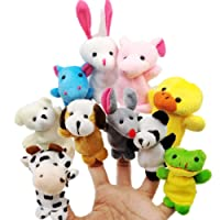 JZK 10 Burattini a dito animali pupazzetti dita set giocattoli animaletti peluche piccoli pensiero regalino bomboniera festa compleanno bambini bimbi