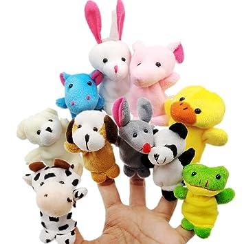 JZK 10 Marionetas dedo animales dedos títeres animal juguetes pequeños juguetes de peluche para niños favores