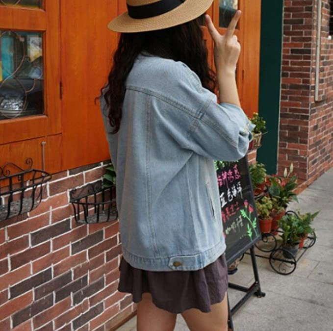 2018 Vintage Harajuku Oversize Loose Female Jeans Coat Solid Slim Chaquetas Mujer at Amazon Womens Coats Shop