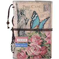 Lederen schrijfjournaal Notebook, MALEDEN Vintage Reiziger Notebook Schetsboek Klassieke navulbare dagboek planner voor meisjes en jongens met leeg papier en rits zak Bloemen