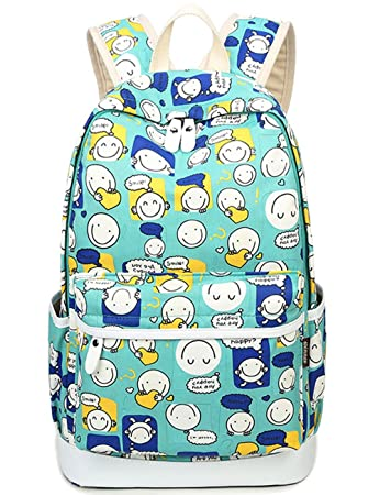 6b6dfe4da40 BLOOMSTAR Cute Water Resistant Girls School Laptop Backpack Flora Book Bag  Daypack Travel Rucksack (Khaki