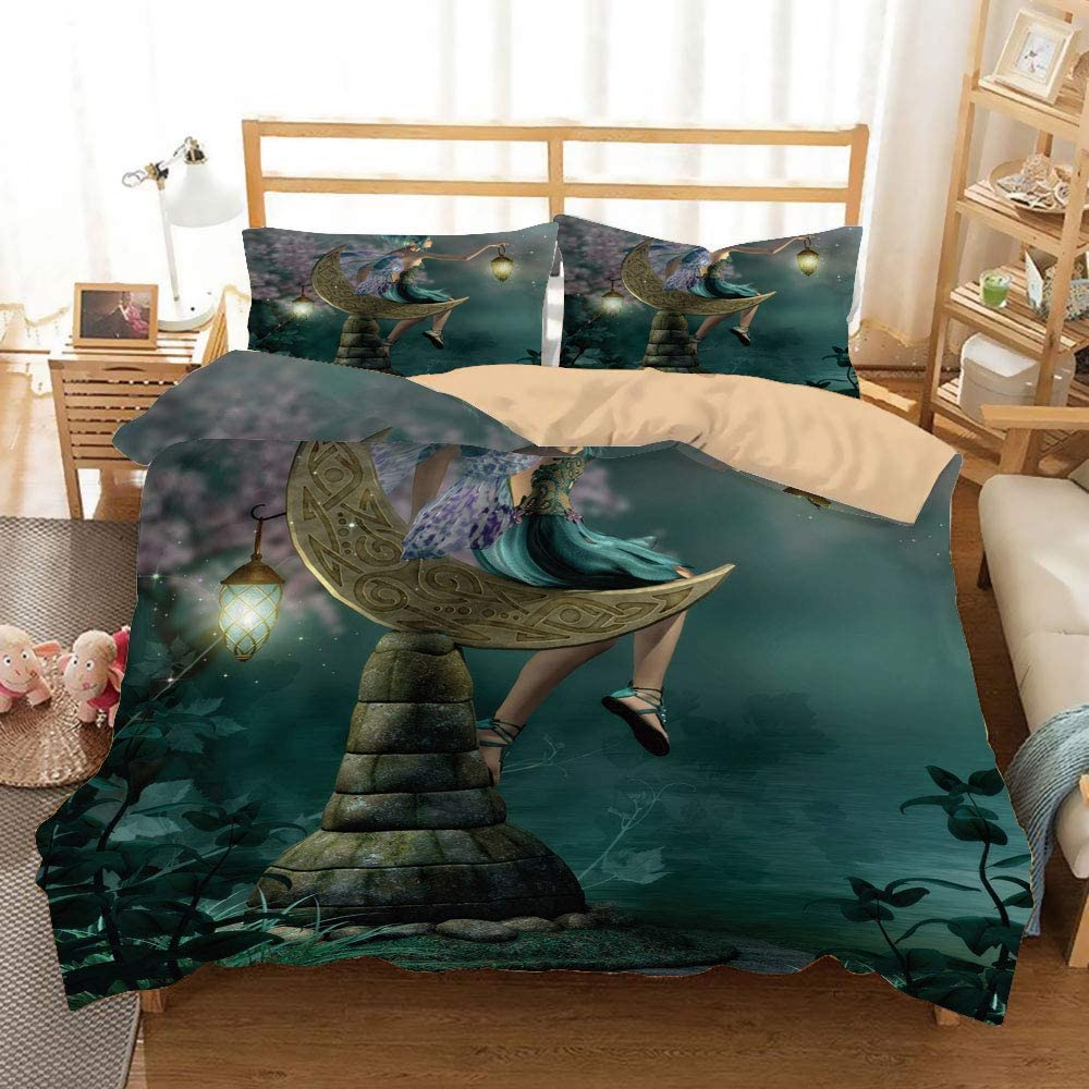 Fantasy Khaki Duvet Cover Set Full/Queen Size,Little Pixie with Lantern Sitting on Moon Stone Fairytale Myth Kitsch Artwork,Decorative 3 Piece Bedding Set with 2 Pillow Shams,Gold Teal Lilac