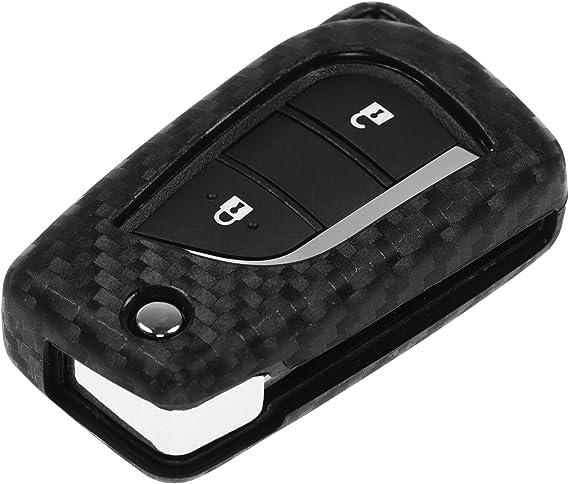 Carbon Soft Case Schutz Hülle Auto Klapp Schlüssel Für Citroen C1 Peugeot 107 Toyota Aygo Auris