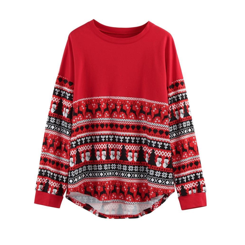 FUNIC Women's Pullover, Merry Christmas Women Long Sleeve Loose Tops Blouse T-Shirt Hoodies (XXL/XXXL, Red)