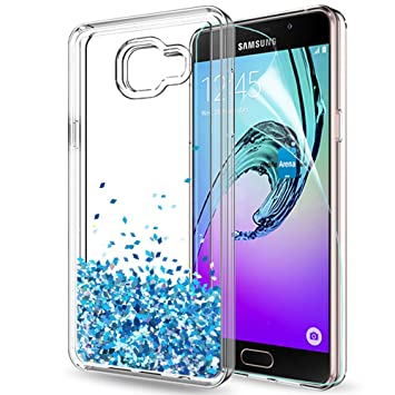 LeYi Compatible con Funda Samsung Galaxy A5 2016 Silicona Purpurina Carcasa con HD Protectores de Pantalla,Transparente Cristal Bumper Telefono Gel ...