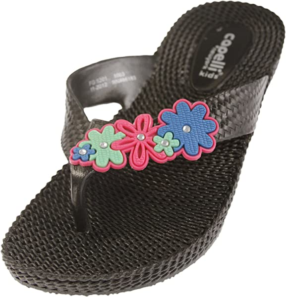 bfeaabc134 Capelli New York Woven Texture Girls Wedge Flip Flop With Flowers (1-2,