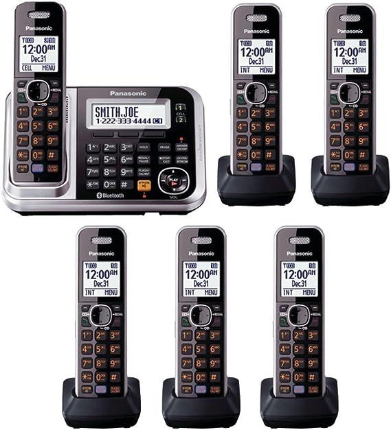 Panasonic KX-TG7875S 6 Terminales DECT 6.0 línea de teléfono inalámbrico Bluetooth: Amazon.es: Oficina y papelería