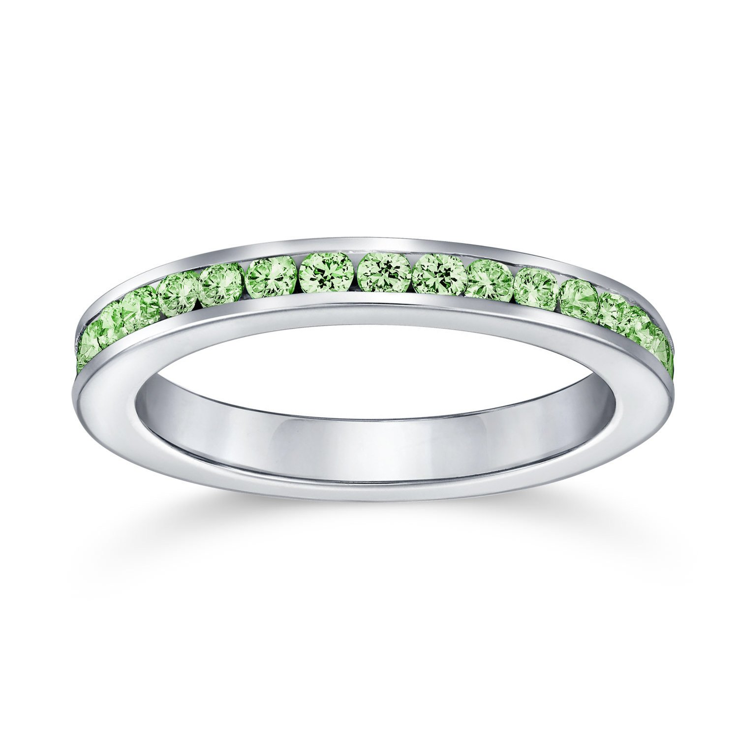 Bling Jewelry Silver Simulated Peridot CZ August Eternity Birthstone Ring N805yp