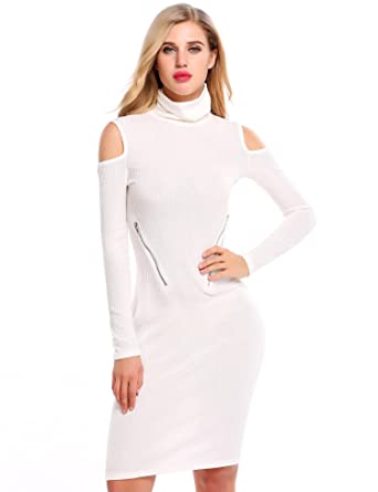 Zeagoo Women Sexy Cold Shoulder Knitting Sweater Long Sleeve Bodycon Party  Dress(White S) 419103aa9